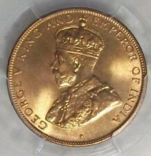 1933 HONG KONG GEORGE V BRONZE PCGS GEM MS-65 RED KM17 L@@K