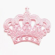 Pink Crown Embroidered Sewing Iron On Patch Accessories Bag Coat Jacket Jeans