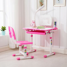 KUPPET Pink Adjustable Childrenu0027s Study Desk Chair Set Kids Table W/desk L& & Pink Kids and Teens Play Tables u0026 Chairs for sale | eBay