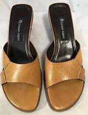 Etienne Aigner Tan Leather Hardy Slide Heels Open Toe Sandals Size 8.5