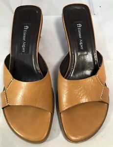 Etienne Aigner Tan Leather Hardy Slide Heels Open Toe Sandals Size 8.5