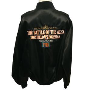Vintage 1991 Battle Of The Ages Holyfield vs Foreman Satin Jacket TVKO Size L