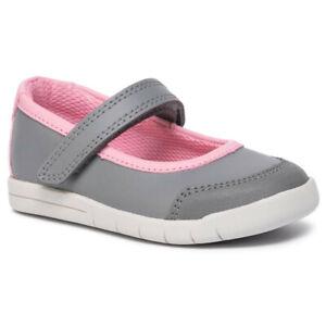 BNIB Clarks Girls Emery Halo Grey/PinkLeather Shoes