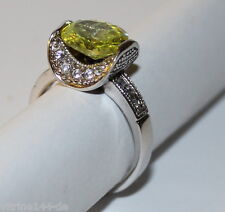 ausgefallener RING Spinell gelbgrün+Zirkonia weiß 925 Silber rhodiniert Größe 52