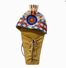Native American Cheyenne Indian Bead Decorated Hide Cradleboard Full Size Signed