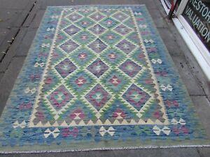 Vintage Kilim Traditional Hand Made Oriental Blue Wool Large Kilim 240x175cm
