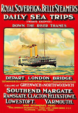Royal Sovereign and Belle Steamers Thames Ship London Bridge Poster Print