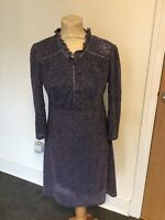 VINTAGE 60'S PURPLE & SILVER SPARKLE PARTY MINI MOD DRESS UK 8-10 SMALL