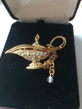 KIRKS FOLLY  Magic Lamp Pin Brooch AB Crystals Aladin Genie Star vintage
