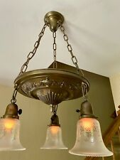 Antique Vtg Hanging Chandelier Lamp Light Fixture Signed Art Glass Shades MINT