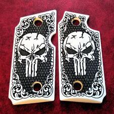Sig Sauer P238 custom imitation ivory Skull scrimshaw pistol grips Checkered