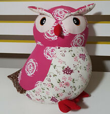 SHMICK PINK AND WHITE PATTENED OWL PLUSH TOY 25CM TALL