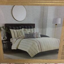 Cupcakes and Cashmere Cotton Mixed Stripe King Duvet Cover NEW