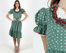 Vtg Oktoberfest Dirndl Dress Waitress Trachten Costume Green Floral Cotton Mini