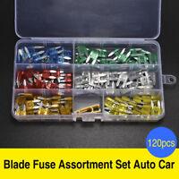 120Pcs Mini Blade Fuse Assortment Set Car Auto Truck SUV FUSES Kit APM ATM
