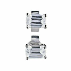 Sterling Silver Diamonfire Emerald Cut Earrings 1.30 Carat Platinum Plated E5782
