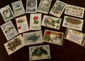 Nice Lot of 16 Antique Christmas Postcards-Vintage ~In Protective Sleeves-h567