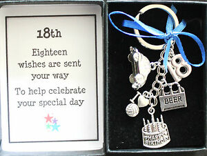 18th GIFT KEYRING BIRTHDAY KEEPSAKE, MALE BOXED OTHER DESIGNS AVAILABLE