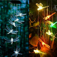 Dragonfly LED Color-Changing Power Solar Wind Chimes Yard Home Garden Decor US