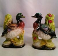 Vtg 50's Pottery Art Wood Duck Mallard Weighted Bookends Pair figurines