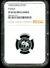 China 1990 Platinum 10 Yuan Panda PF69 Ultra Cameo NGC 2801992-017