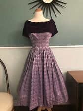 1950's 1960's Fit And Flare Purple Velvet Brocade Vintage Dress 26 W 60's Formal