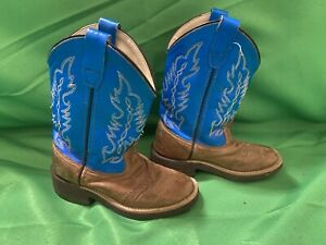 Old West Boys Cowboy Western Boots Size Youth 5 Blue Brown 1729