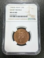 1940 B MS 65 RD India British 1/4 Anna NGC UNC KM 531 Short Trefoils Variety