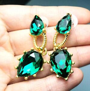 OSCAR DE LA RENTA Gorgeous Drippy Green crystal Rhinestone earrings