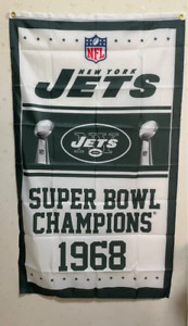 New York Jets Super Bowl Champions Flag 3X5 FT NFL Banner Polyester FAST SHIPPIN