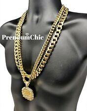 "Last Supper Pendant & 30"" Cuban Link Chain Necklace Mens Hip Hop Jewelry"