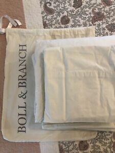 Boll & Branch 100% Organic Cotton Percale Hemmed King Sheet Set EUC Ivory