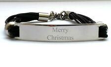 Mens Black 3 Strand Engraved Personalised Bracelet with Gift Box Christmas Xmas