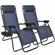 Zero Gravity Chairs Case Of (2) Lounge Patio Chairs Outdoor Yard Beach Navy Blue