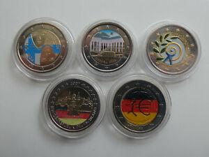 Europa 5 x 2 Euro 2006-2011 Farbgeld Lot 5 Münzen (3