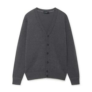 Men's Hackett Four Tone Knitted Cardigan in Grey Multicolour
