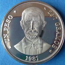 DOMINICAN REPUBLIC 1 PESO 1981 PROOF Dominicana Dominikanische Dominicaine RARE
