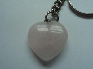 Rose Quartz Heart Keyring Love Compassion Taurus