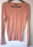 Hostar UK 6 8 Cashmere Blend Peach Cardigan Autumn Winter Buttons Slim XS Cotton