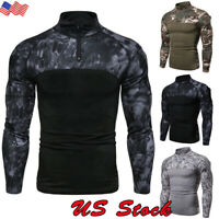 Men Camouflage Army Combat Tactical T Shirt Military Long Sleeve Camo T-Shirt US