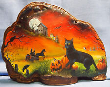 2014 Halloween Hand-painted Tree Fungus Art By Shirley Olsen-Night Watch-14 x 20