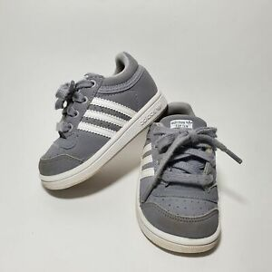 Adidas Top Ten Boys Sz 5 Suede Leather Gray Lace Up Infant Kids Sneakers Shoes