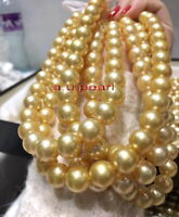 """AAAAA long 48""""12-13MM NATURAL round south sea golden pearl necklace 14K gold"""