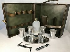 Vintage Travel Bar with Combination Lock, 3 Slots for Bottles, and Cups