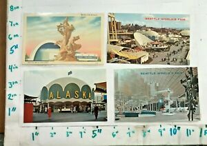 4 World's Fair Postcards 3 Unposted Seattle WA 1962 1 posted New York 1939