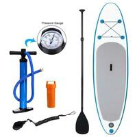 10' Inflatable SUP Stand up Paddle Board Surfboard Adjustable Fin Paddle BLUE