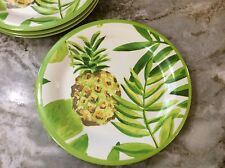 Outdoor Collection Melamine Dinner Plates. Colorful Pineapple. Set Of 4. New.