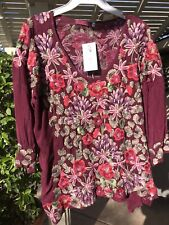 NWT Johnny Was Embroidered Leopard Rose  Blouse Top Small NEW Floral Boho $245