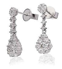 Diamond Drop Daisy Earrings 1.10ct F VS Brilliant Cut in 18ct White Gold