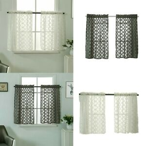 Bathroom Window-Curtain Sheer Kitchen Restaurant Checked Valance Cover .New.